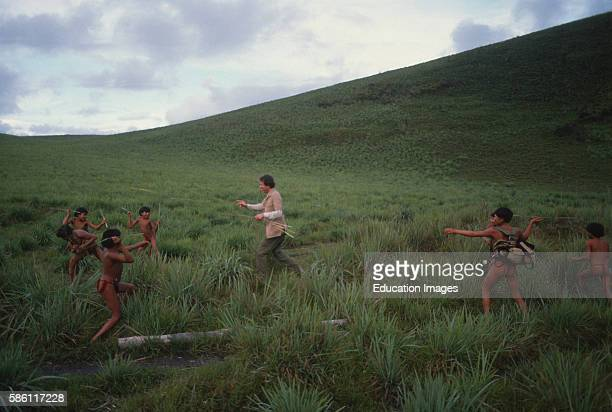 Reed spear fight with Man Parima Mountain Venezuela 1989 Young boys were told not to aim for the eyes or head As aspiring warriors that is all they...