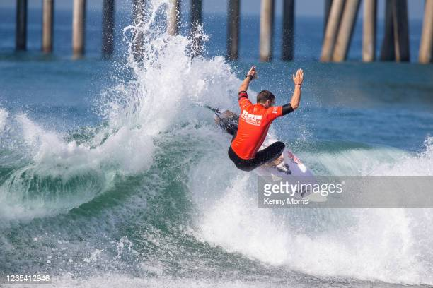 Reef Heazlewood of Australia surfs in Heat 1 of the Round of 96 at the US Open of Surfing Huntington Beach presented by Shiseido on September 21,...