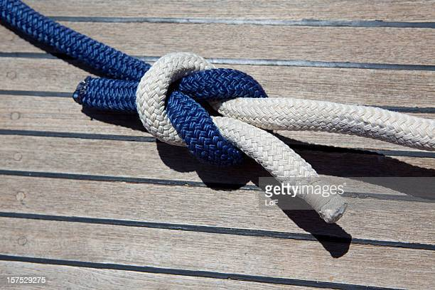 Reef knot on a sail boat deck
