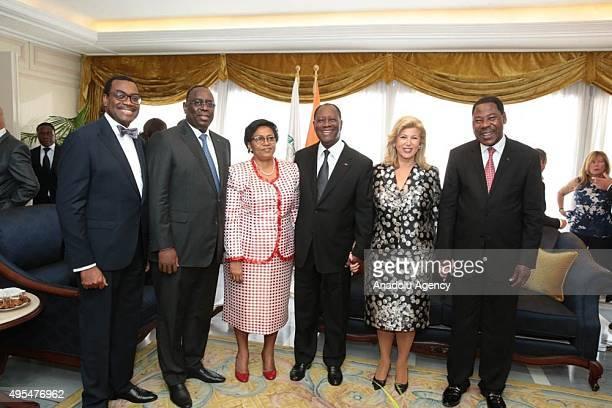 Re-elected president of Ivory Coast Alassane Ouattara , his wife Dominique Folloroux-Ouattara , President of Senegal Macky Sall and President of...