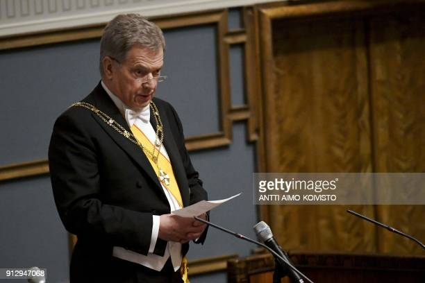 Reelected President Sauli Niinistö speaks during the inauguration ceremony of the President of the Republic of Finland during a plenary session of...