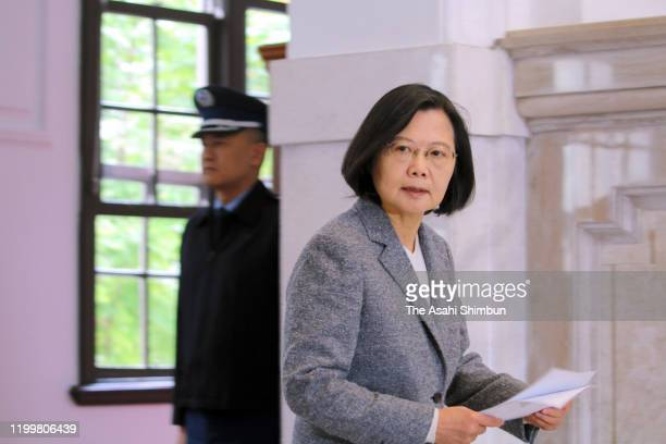Re-elected Taiwan President Tsai Ing-wen speaks during a press conference on January 15, 2020 in Taipei, Taiwan.
