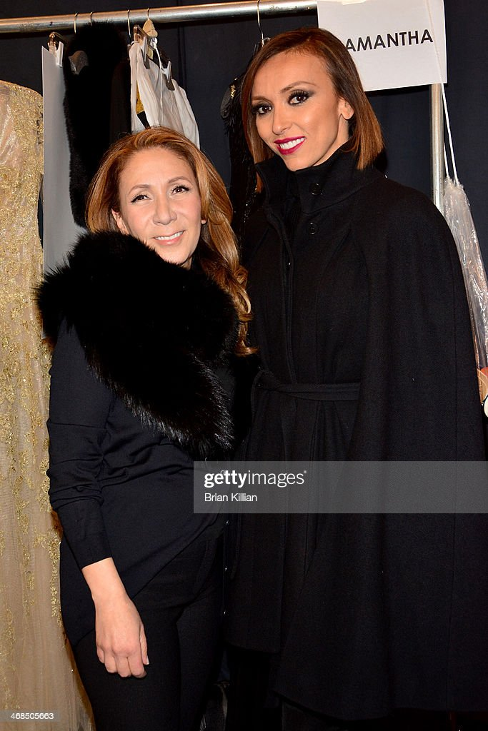 Reem Acra and Giuliana Rancic backstage at the Reem Acra fashion show during Mercedes-Benz Fashion Week Fall 2014 at The Salon at Lincoln Center on February 10, 2014 in New York City.