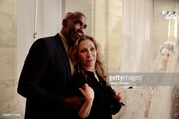 Reem Acra poses with Preston Bailey after the Reem Acra Fall/Winter 2019 New York Fashion Week Bridal show on October 4 2018 in New York City