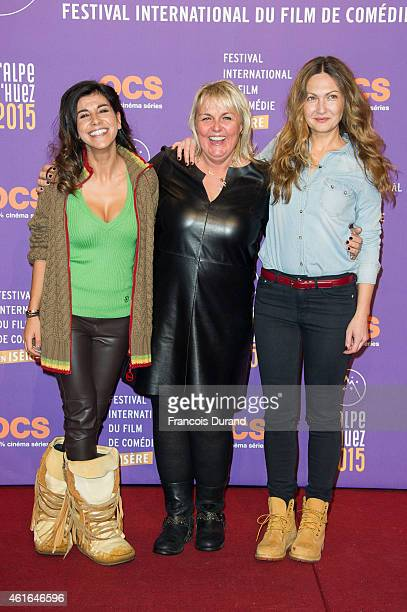 Reem Kherici and Valerie Damidot pose before the screening of 'Papa ou Maman' during the 18th L'Alpe D'Huez International Comedy Film Festival on...