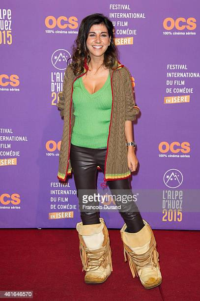Reem Kherici poses before the screening of 'Papa ou Maman' during the 18th L'Alpe D'Huez International Comedy Film Festival on January 16 2015 in...
