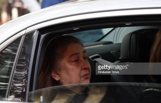 Reema Kapoor Jain at the funeral of Ritu Nanda at Lodhi Road Crematorium on January 14 2020 in New Delhi India Ritu Nanda late actor Raj Kapoor's...