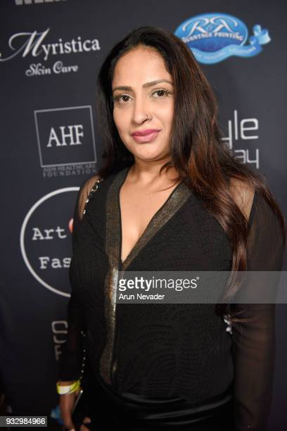 Reema Khan attends Los Angeles Fashion Week Powered by Art Hearts Fashion LAFW FW/18 10th Season Anniversary Backstage and Front Row Day 5 at The...