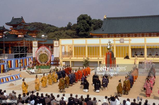 Reenacting ancient sumo at Heian shrine for the celebration of the 1200th anniversary of the city on October 16 1994 in Kyoto Japan