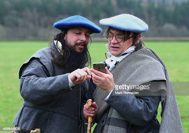 Reenactment enthusiasts arrive for the 200th anniversary Reenactment of the historic Carterhaugh Ba' Game of 1815 at Bowhill on December 4 2015 in...