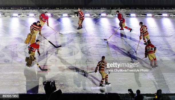 A reenactment of a game from 100 years ago between the Ottawa Senators and the Montreal Canadiens as part of the pregame ceremony during the of the...