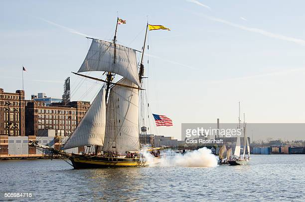 Reenactment of a sea battle involving a privateer ship during the War of 1812 This was at Baltimore Maryland's Privateer Festival in the Baltimore...