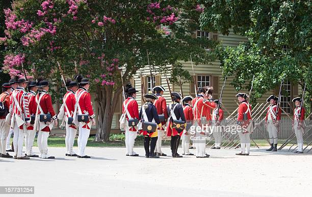 reenactment of redcoats seizing williamsburg - williamsburg virginia stock pictures, royalty-free photos & images