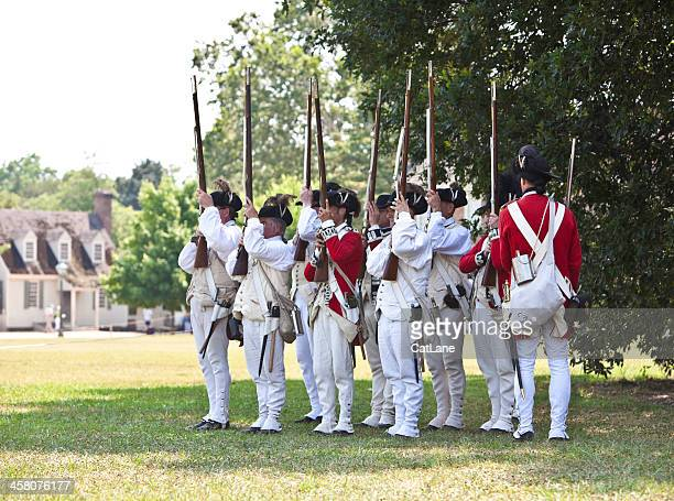 reenactment of redcoats seizing williamsburg - red coat stock pictures, royalty-free photos & images