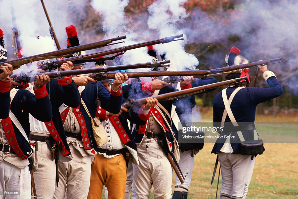 Reenactment of Revolutionary war soldiers : Stock Photo