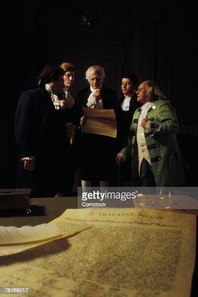 Reenactment of the signing of the Declaration of Independence , Independence Hall , Philadelphia , PA , USA