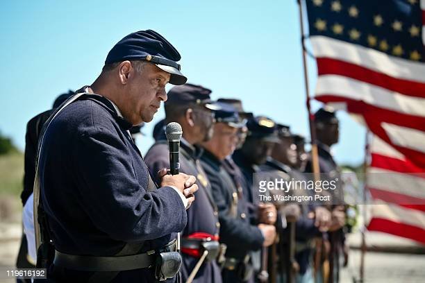 Reenactor Mel Reid with the 54th Regiment Massachusetts Volunteer Infantry addresses the crowd during ceremonies to honor the anniversary of the...