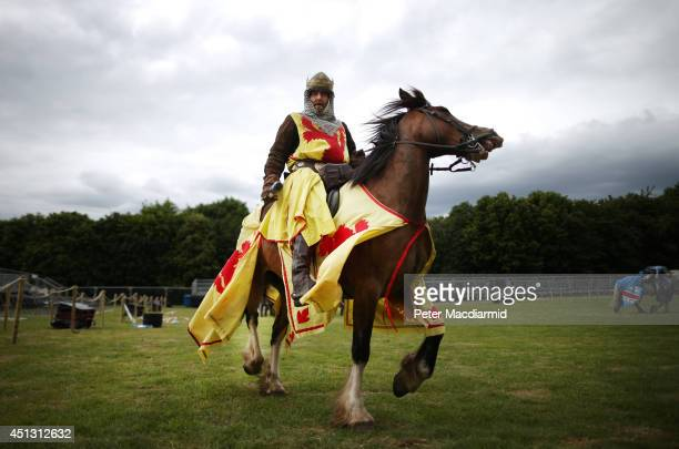 A reenactor plays the part of Scottish King Robert the Bruce during the rehearsal for the Battle of Bannockburn Live event on June 27 2014 in...