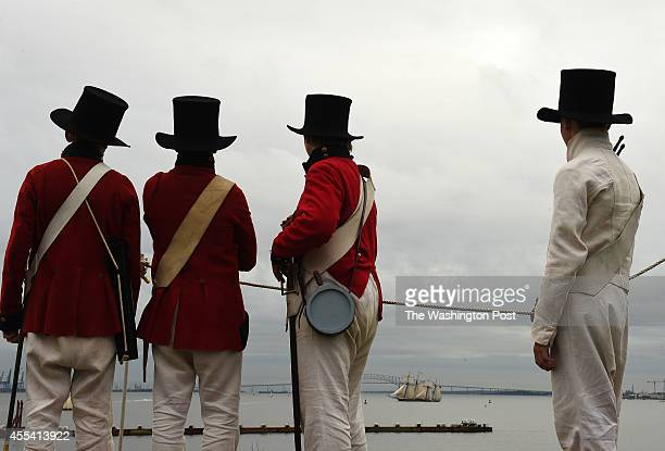 Reenactors are seen during the StarSpangled Spectacular which celebrates the 200th Anniversary of the penning of The StarSpangled Banner and the...