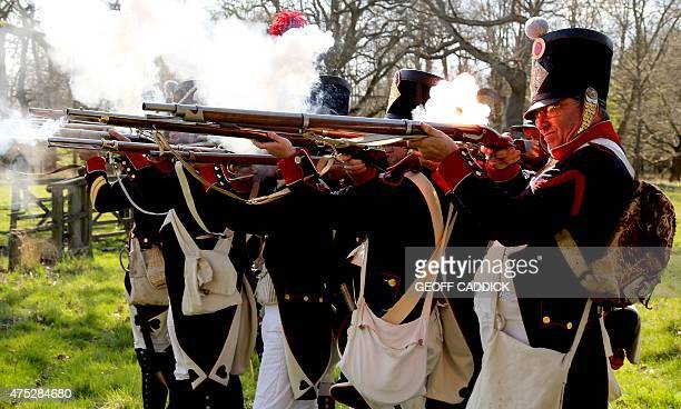 Re-enactors, dressed as French troops particpate in a trial re-enactment of the Battle of Waterloo in the grounds of Ickworth House near Bury St...