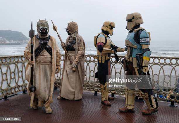 Re-enactors dressed as Star Wars characters attend on the second day of the Scarborough Sci-Fi weekend held at the seafront Spa Complex on April 07,...