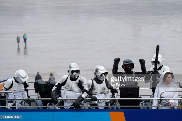 Re-enactors dressed as Star Wars characters ride the open top bus on the sea front at Scarborough on the second day of the Scarborough Sci-Fi weekend...