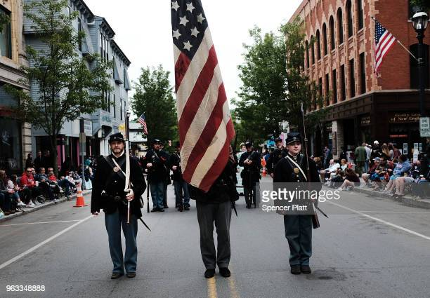 Reenactors from the American Civil War march during the annual Memorial Day Parade on May 28 2018 in Naugatuck Connecticut Across America towns and...
