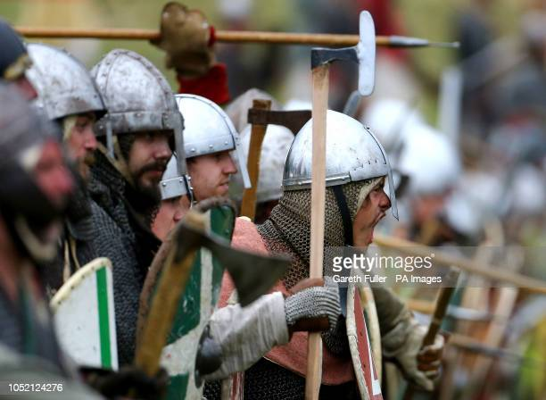Reenactors in Battle near Hastings reenact the clash between King Harold and William the Conqueror on the anniversary of the Battle of Hastings