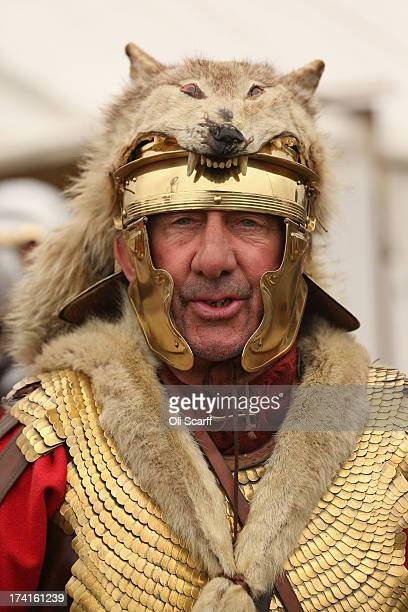 Reenactors of the Roman Army take part in the 'History Live' event at Kelmarsh Hall in Northamptonshire on July 21 2013 in Kelmarsh England The...
