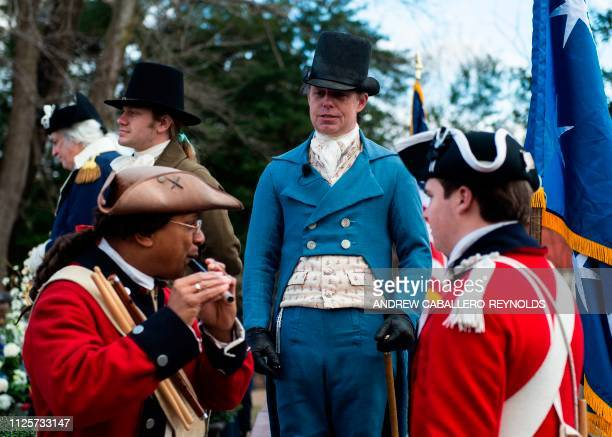 Reenactors play music as part of Presidents day events at George Washingtons' Mount Vernon estate in Mt Vernon Virginia on February 18 2019 Mount...