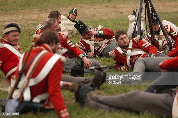 Reenactors prepare to take part in the 'History Live' event at Kelmarsh Hall in Northamptonshire on July 21 2013 in Kelmarsh England The English...