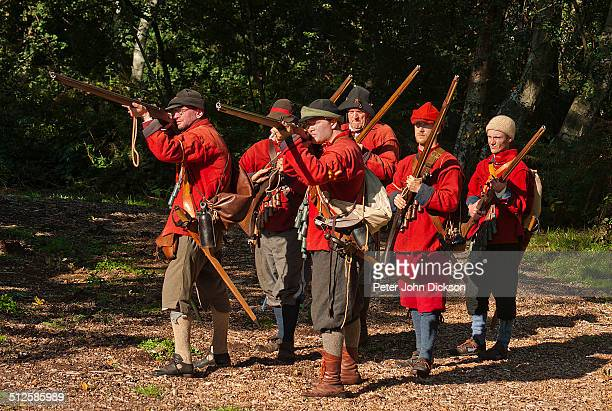 Reenactors recreate a scene from the English Civil Wars dressed as the New Model Army