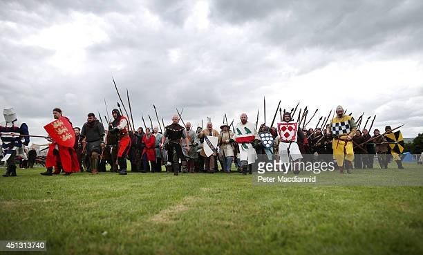Reenactors rehearse for the Battle of Bannockburn Live event on June 27 2014 in Stirling Scotland The 700th anniversary of the historic battle that...