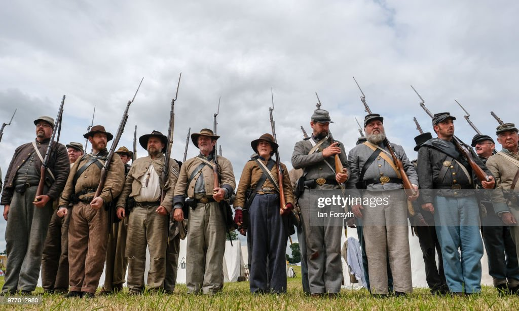 Re-enactors Of Soldiers Throughout History Take Part In The Frontline -Sedgefeled Event