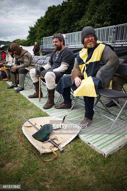 Reenactors take a break during rehearsal for the Battle of Bannockburn Live event on June 27 2014 in Stirling Scotland The 700th anniversary of the...