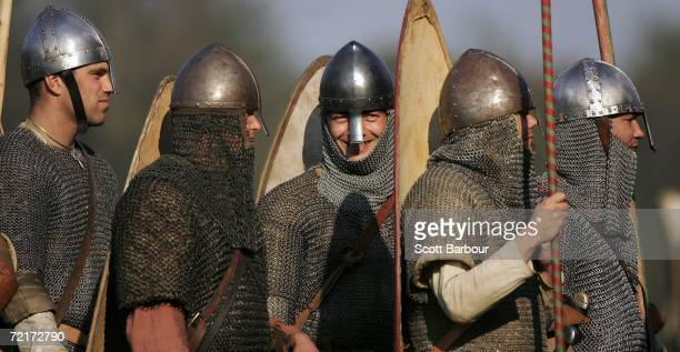 Reenactors take part in a recreation to celebrate the 940th anniversary of The Battle of Hastings on October 15 2006 in Hastings England Over 3000...