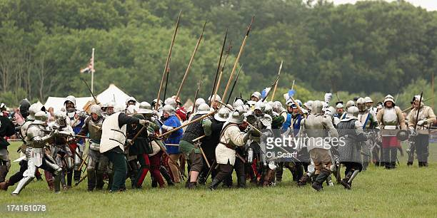 Reenactors take part in the 'History Live' event at Kelmarsh Hall in Northamptonshire on July 21 2013 in Kelmarsh England The English Heritage event...
