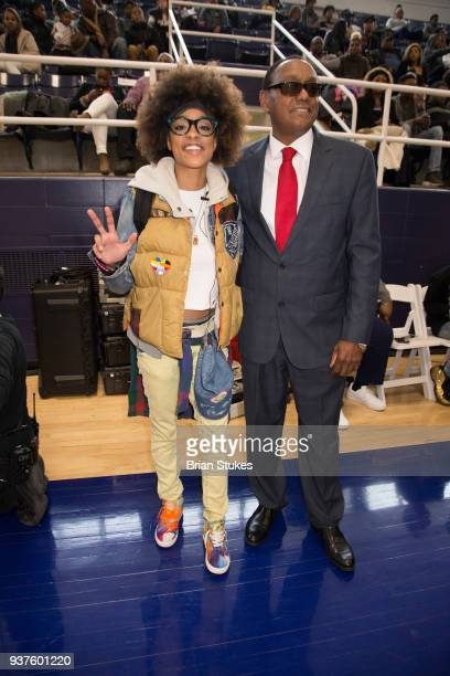 Reesa Renee and James Scott attend Master P's Global Mixed Gender Basketball League Diabetes Health Initiative Game at Howard University Burr...