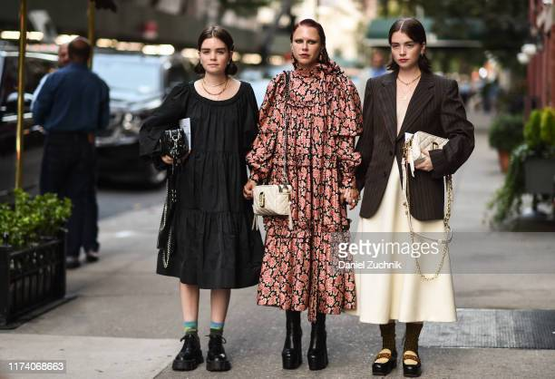 Reese Blutstein, Courtney Trop and Molly Blutstein are seen wearing Marc Jacobs outfits outside the Marc Jacobs show during New York Fashion Week...