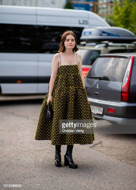 Reese Blutstein wearing dress is seen outside Cecilie Bahnsen during the Copenhagen Fashion Week Spring/Summer 2019 on August 8, 2018 in Copenhagen,...