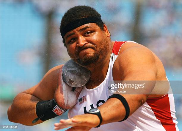 Reese Hoffa of the United States of America competes during the Men's Shot Put qualification round on day one of the 11th IAAF World Athletics...