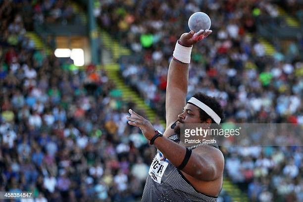 Reese Hoffa participates in Men's Shot Put Final during the 2016 US Olympic Track Field Team Trials at Hayward Field on July 1 2016 in Eugene Oregon