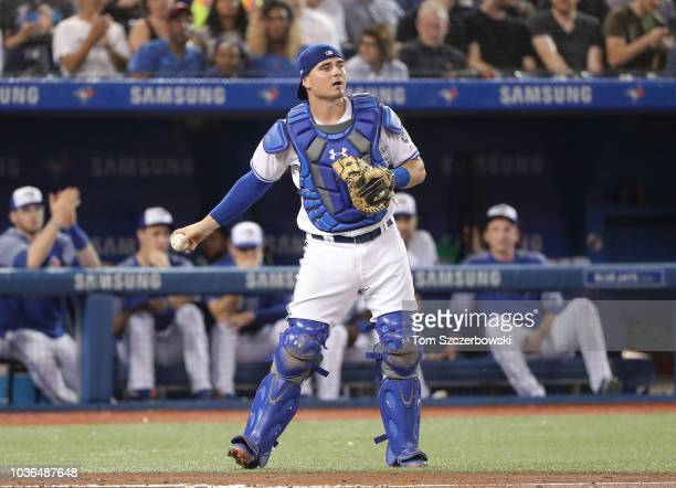 Reese McGuire of the Toronto Blue Jays after catching a pop up in the fifth inning during MLB game action against the Cleveland Indians at Rogers...