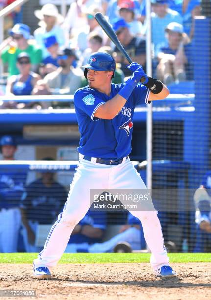 Reese McGuire of the Toronto Blue Jays bats during the Spring Training game against the Detroit Tigers at Dunedin Stadium on February 23 2019 in...