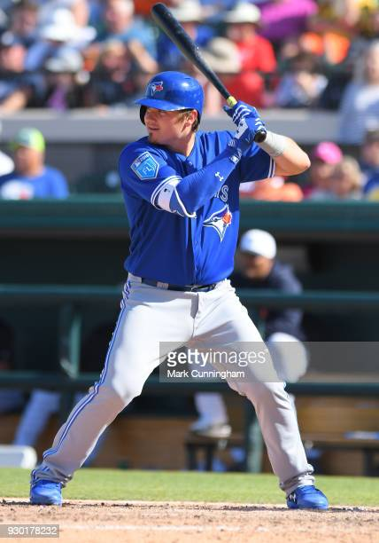 Reese McGuire of the Toronto Blue Jays bats during the Spring Training game against the Detroit Tigers at Publix Field at Joker Marchant Stadium on...