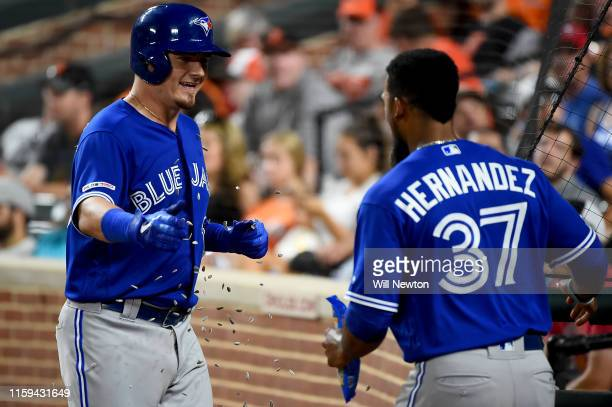 Reese McGuire of the Toronto Blue Jays celebrates with Teoscar Hernandez after hitting a tworun home run during the seventh inning against the...