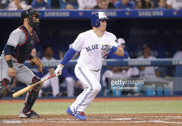 Reese McGuire of the Toronto Blue Jays grounds out in the fourth inning during MLB game action against the Cleveland Indians at Rogers Centre on...