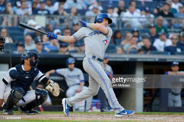 Reese McGuire of the Toronto Blue Jays in action against the New York Yankees at Yankee Stadium on September 21, 2019 in New York City. The Yankees...