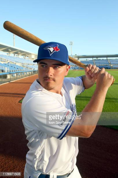 Reese McGuire poses during the Toronto Blue Jays spring training Photo Day on February 22 at the Dunedin Stadium in Dunedin FL