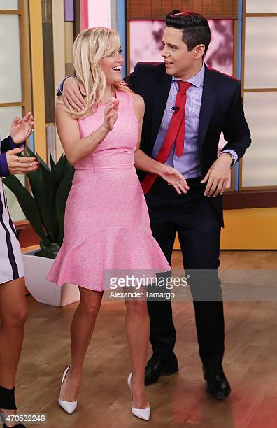 Reese Witherspoon and Alejandro Chaban are seen on the set of Univision's 'Despierta America' morning show to promote her new movie 'Hot Pursuit' at...